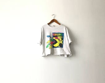 White 1989 Neon Beach Cropped Shirt - One Size