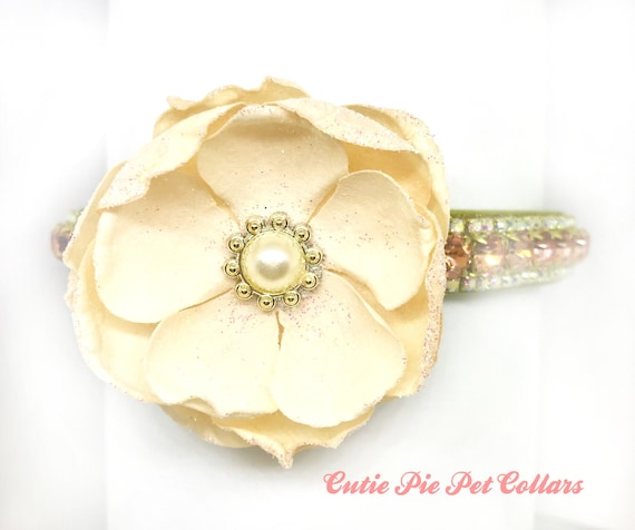 Bling Cutie Pie Pets Collars™ Pretty in Peach Flower Bow~ Crystal Diamante Rhinestone Vegan Leather Dog or Cat Safety Collar USA