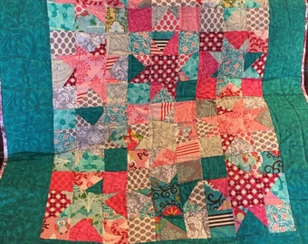 Bright Colors Wonky Star Baby or Toddler Quilt - Free Shipping!