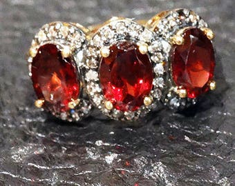 Garnet Diamond Ring Champagne Diamonds 10K Gold Vintage