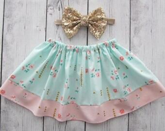 Floral Skirt for baby girl - shabby chic skirt, pink mint skirt, baby girl skirt, garden party, spring skirt, summer skirt, shabby chic