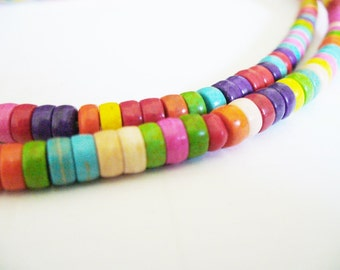 Magnesite Beads Mixed Colors Heishi 6x4mm