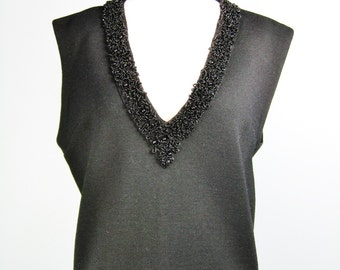 Beaded Wool Shell / Vtg 50s / Black Deep V Neck 100 Wool Beaded Shell / Sleeveless Beaded Evening top / Large or Extra Large / L or XL
