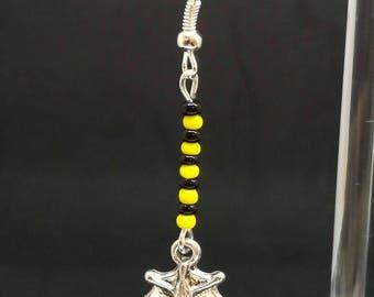 Yellow and black bat earrings