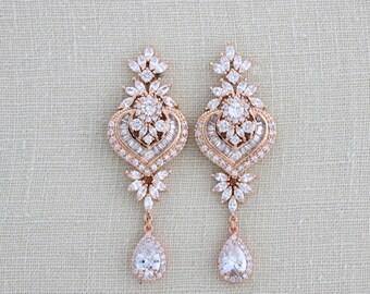 Rose Gold Bridal earrings, Bridal jewelry, Rose Gold Chandelier earrings, Rose Gold Crystal earrings, Wedding earrings, Pearl earrings, EMMA
