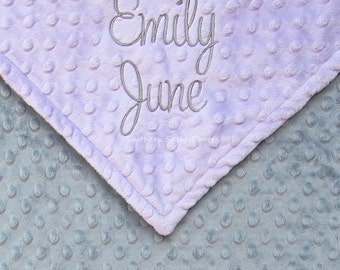 Baby Girl Gift - Personalized with Name - Monogram Lavender Minky Baby Blanket - Embroidered not Printed - Purple and Gray or Any Colors