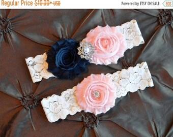 ON SALE NAVY and Pink Wedding  Garter, Bridal Garter, Wedding Garter Set, Navy Blue Pink Garter Set, Ivory  Lace Garter, Garter Belt