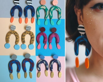 Arch Dangles ~*~*~ 6 COLOR COMBINATION OPTIONS ~*~*~ Statement Earrings, Chunky Earrings, Bold Earrings