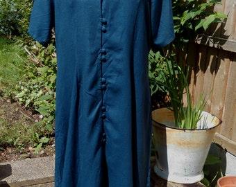Plus size vintage, Pure silk dress by Champagne Silk, 80's grunge dress, Raw Silk prairie dress, Blue silk dress, UK size 18, US size 16