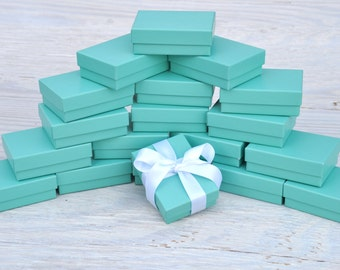 100 Turquoise 3.25x2.25x1 Matte Gift Jewelry Boxes with Cotton Fill