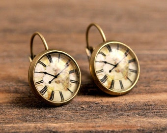 Vintage clock earrings, dangle earrings, gift for women, birthday gift for her, gift women, sister gift, daughter gift, gift for mom, brass