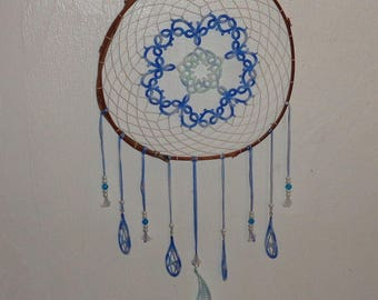 Dream catcher with lace frills feathers shades of blue