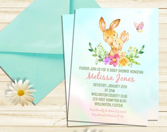 Bunny Rabbit Baby Shower Invitation -  Spring Invitation Woodland Baby Shower - Mother and Child - Gender Neural Invite - Printable  Invite