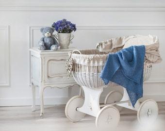 Knit Baby Blanket Linen Blanket Blue Blanket Baby Shower Gift Baby Bedding Linen Throw Baby Gift Newborn Blanket Nursery Bedding