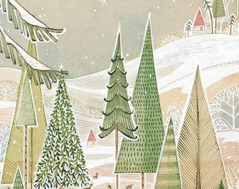 Whimsical winter landscape with deer - holiday - Christmas - Archival Art Print - watercolor- woodland - winter - wall decor