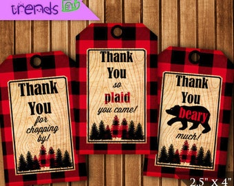 Lumberjack Thank You Gift Tags, Printable Birthday Party Tags, Digital Favor Tags, Plaid Thank You Cards, Camp Party, INSTANT DOWNLOAD
