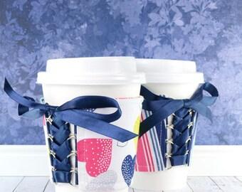 Corset Cup Cozy // Fantasy Hearts & Stripes Cup Cozy // reversible // adjustable // reusable // beverage cozy // fabric cup cozy // handmade