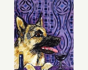 25% off German Shepherd at the Wine Bar Dog Art Print Gift
