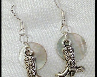 Silver, Metal, Cowboy Boots Charms and Natural Shell  Earrings, Dangles on Sterling Silver Ear Wires, Cowgirl