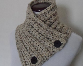 Button Up Cowl, Chunky Neck Warmer, Chunky Cowl, Ready to Ship
