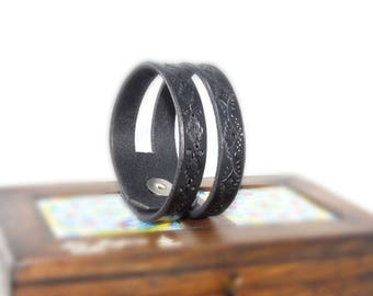 "Size 7.25"" Black Leather Cuff Bracelet, 2 in 1, Hand Tooled Genuine Leather Bracelet Bangle, Leather Jewelry, Unique Gift, Women, Wife, Gift"