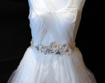 Ivory and Champagne Beads & Rhinestones Floral Butterfly Lace Bridal Wedding Gown's soft Petersham Sash Belt is for sale.Perfect for wedding
