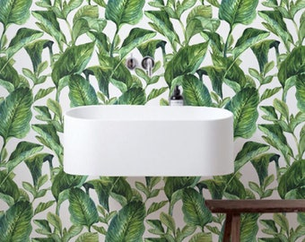 Tropical wallpaper, Bananna leaves wallpaper, Wall Stickers, BW017