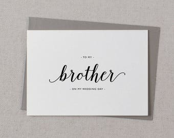 To My Brother On My Wedding Day Card - Brother Wedding Card, Wedding Stationery, To My Brother Thank You Wedding Card, Wedding Note, K3
