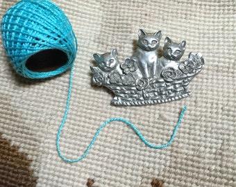 Cats in Basket Pewter Brooch | Vintage Seagull Pewter | Three Kittens in Basket Pin | 1987 Signed Seagull Pewter Canada | Cat Lover Keepsake