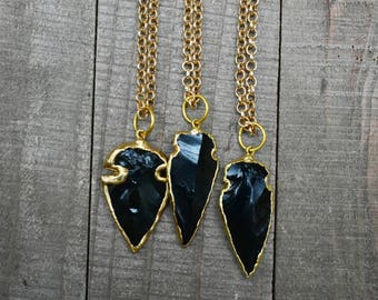 Gold Obsidian Arrowhead Pendant Necklace/ Natural Stone Black Obsidian Arrowhead/ Layering Simple Delicate Pendant (EP-SAH10)