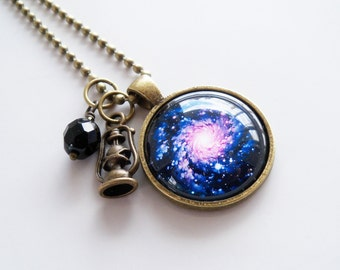 Milky Way Necklace -  1 Inch Galaxy Pendant - Outer Space Jewelry - Galaxy Necklace -  You Choose Bead and Charm - Star and Planet Jewelry
