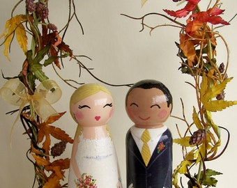 Hand Painted Love Boxes Custom Autumn Wedding Cake Toppers Stand and Bunting