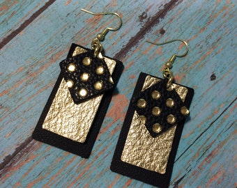 Layered leather earrings, black, gold and polka dot earrings