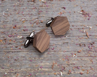 Wood Cufflinks, Hexagon walnut cufflinks, Wedding Cufflinks, 5th Wedding Anniversary Present, cufflinks for men, groomsmen, customized