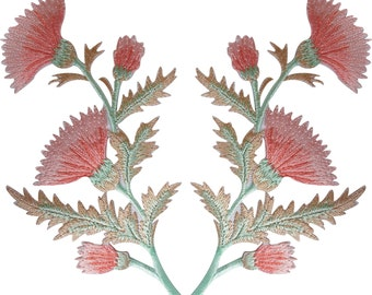 Pair of Peach Pink Thistle Flower Patches Iron Sew On Flowers Floral Patch Badge
