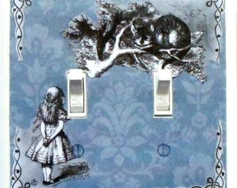 Alice Double switchplates & MATCHING SCREWS- Alice double light switch Alice in Wonderland art Alice in Wonderland Cheshire cat White Rabbit