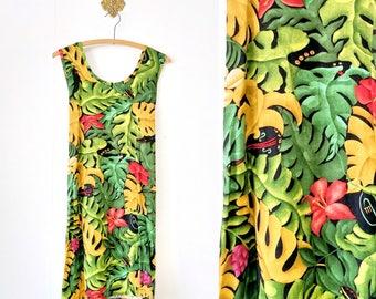 Vintage Tropical Leaf/Foliage Print Dress Size Large/Sleeveless Dress
