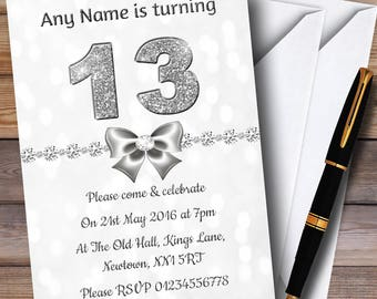 White Bokeh & Silver Glitter Look 13Th Personalised Birthday Party Invitations