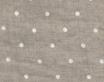 Softened linen fabric by the meter, organic flax fabric, polka dot, undyed prewashed stonewashed white dots linen fabric by the yard 200 gsm