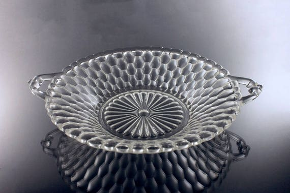 Relish Dish, Indiana Glass, Honeycomb Clear, Handled Bowl, Pressed Glass, Serving Bowl
