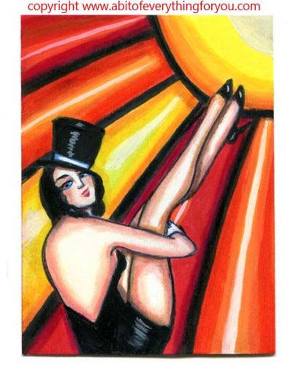 Show Girl dancer flapper pinup aceo art mini original painting top hat sun burlesque art trading card