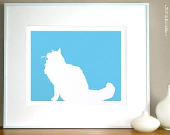 Mod Persian Cat - 8x10 Fine Art Silhouette Print in your choice of color