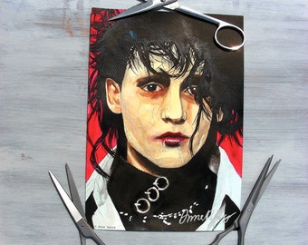 Edward Scissorhands (Johnny Depp, Tim Burton movie) - watercolour painting - A4/A3 poster or A5 print - can be originally signed