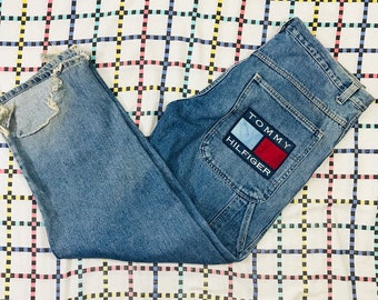 Vintage 90s Tommy Hilfiger Blue Denim Jeans Distressed Spellout Big Flag 34x32