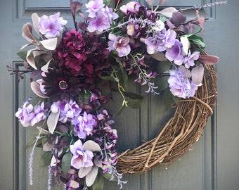 Purple Spring Wreath Gift for Her Housewarming Purple Wreaths Spring Door Wreath Door Decor Spring Sunflower Hydrangea Purple Decor Gifts