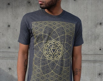 VITALITY - Men's Rythmatix Shirt - Sacred Geometry Influence - Gold Screen print