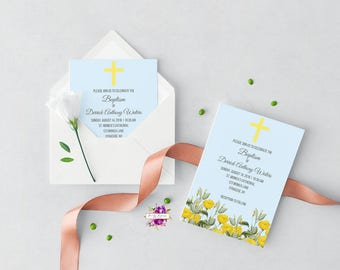Baby Baptism Christening Dedication Invitation - Blue and Yellow Floral Watercolor - Spring - Printable Invitation - Digital Invitation
