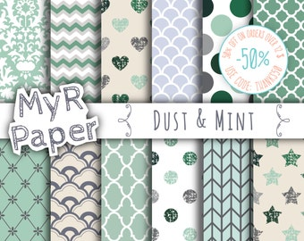 "Digital Paper: ""Dust & Mint"" Digital Paper Pack and Backgrounds with Scallops, Damask, Stars, Hearts in Light Green, Grey and Fresh White"