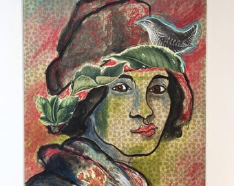 Woman in Hat with Bird Mixed Media Collage