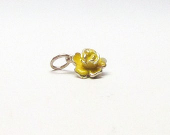 YELLOW ROSE, Rose Charm, Sterling Silver, Charms, Flower Jewelry, Bridesmaid Gift, Gift for Her, Girlfriend Gift, Mothers Day Gift, Enamel